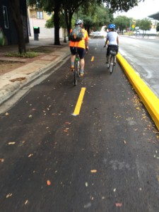 Two-way cycle track in Austin, TX